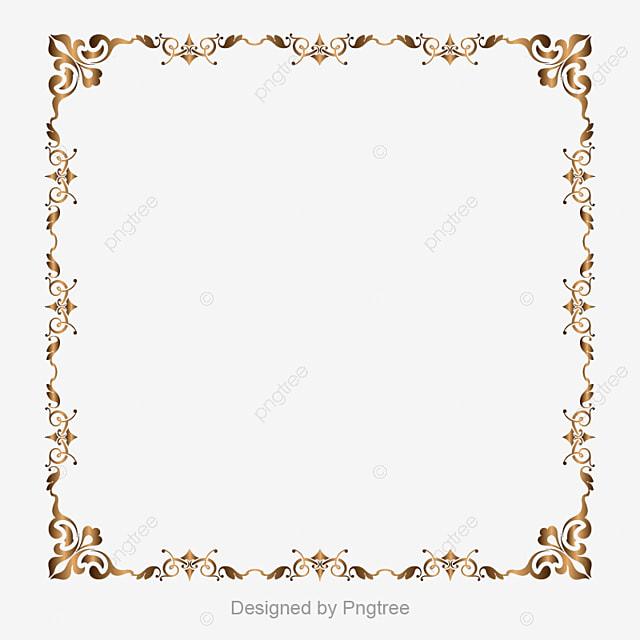 Gold Border Vector Png Wedding Invitation Card Golden: Gold Retro Decorative Border, Border, Golden Border