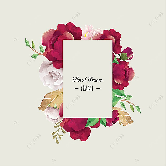 Watercolor Floral Frame Red Flower Hand Painted Png And