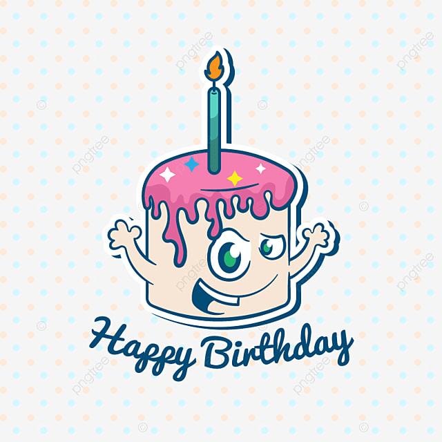 ケーキと幸せな誕生日イラスト ハッピーバースデーケーキ ベクトル
