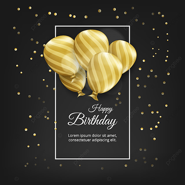 Birthday Card With Golden Balloons And Text Black Background Gold