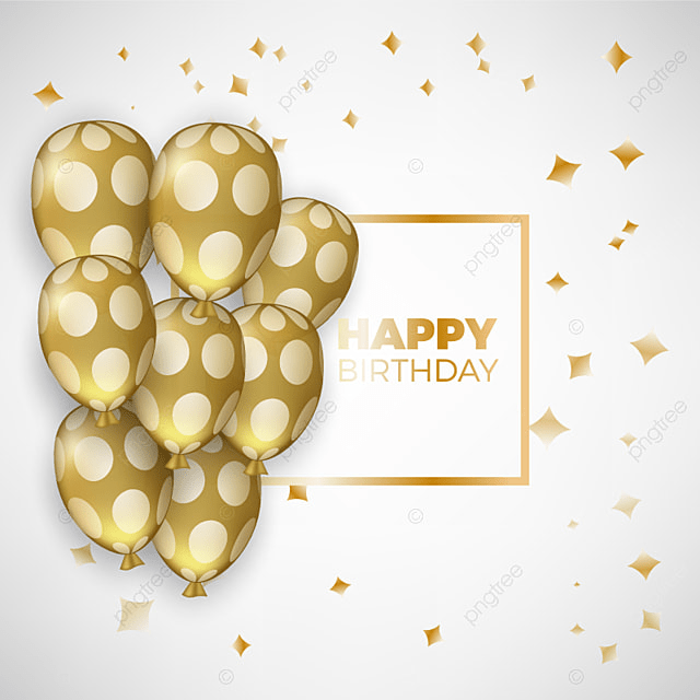 Birthday Card With Golden Balloons And Birthday Text Birthday