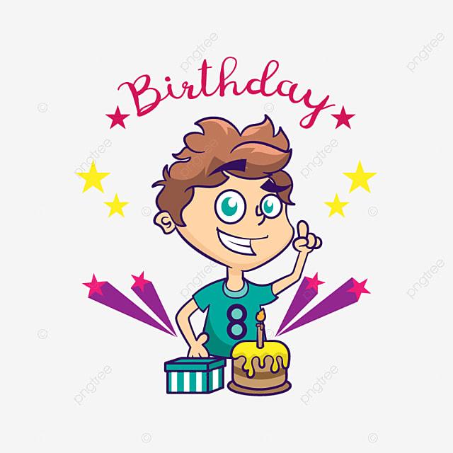 Birthday Card With Cute Boy Birthday Boy Cartoon Png And Vector