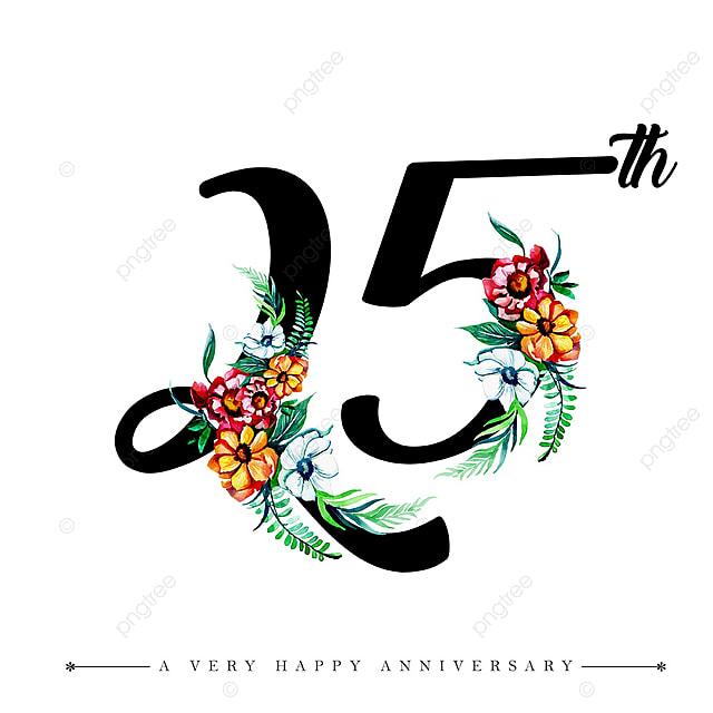 水彩画花の幸せな記念日のナンバー25 水彩絵の具 色 塗装の無料