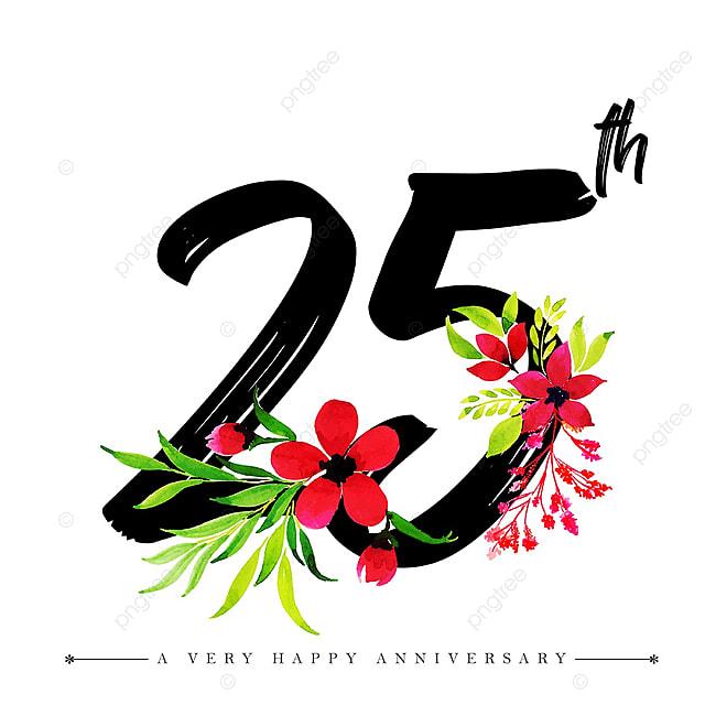 Acuarela Floral Feliz Aniversario Número 25 Acuarela Color
