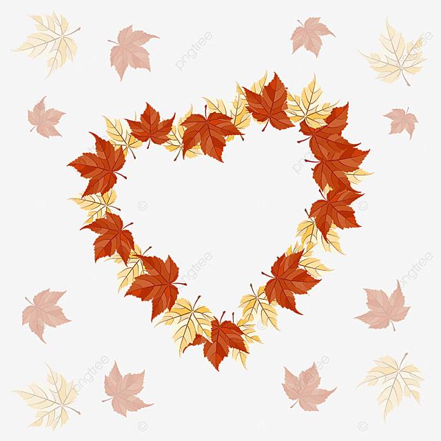Herbstblätter Herz Muster, Herbst, Florale, Blumen PNG und Vektor ...