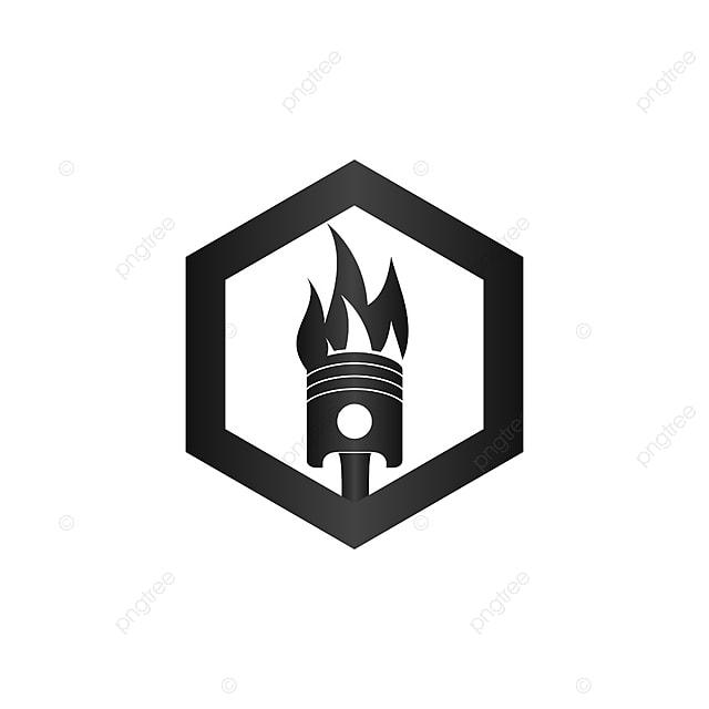 Verbrannte Kolben In Sechseck Automotive Logo Design Template , Teil ...