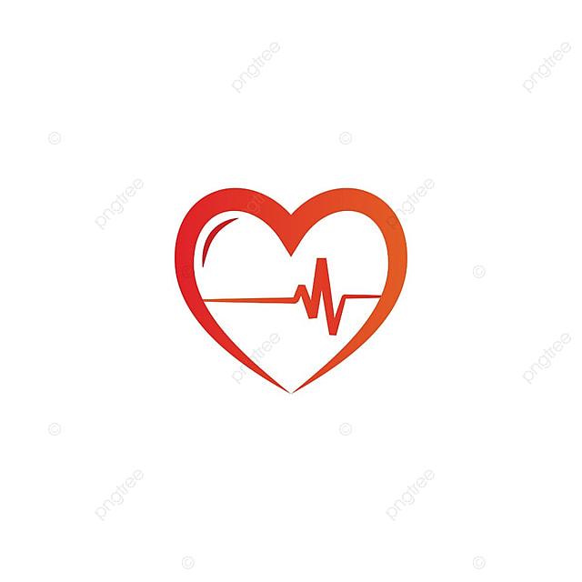 Elegant Heart And Ekg Outline Logo Design Template Vector White Red PNG