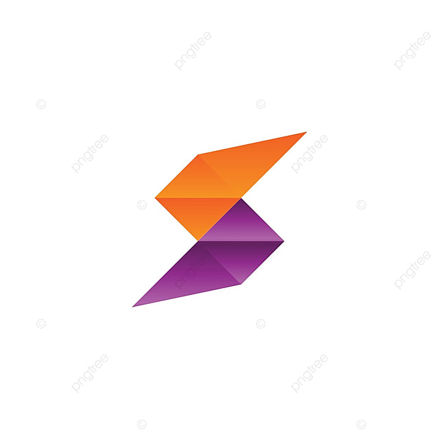 Resumen Carta S Low Poly Con Naranja Y Color Morado, Inicial, S ...