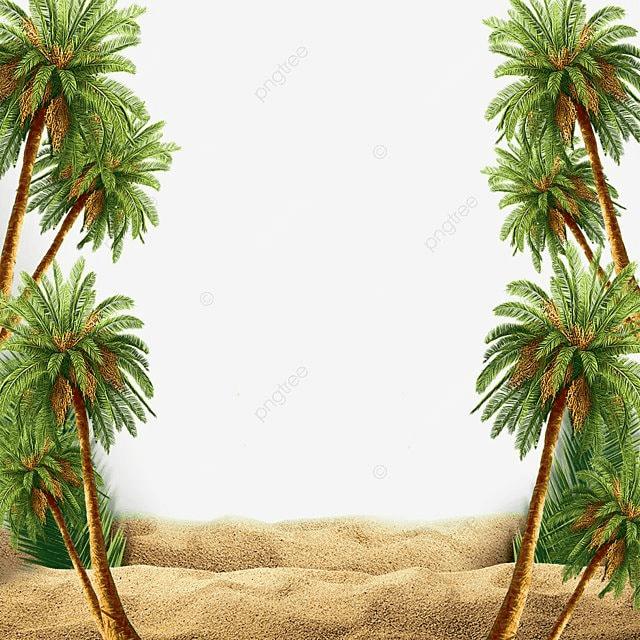 Summer Beach Scene With Palm Tree, Summer, Beach, Palm PNG