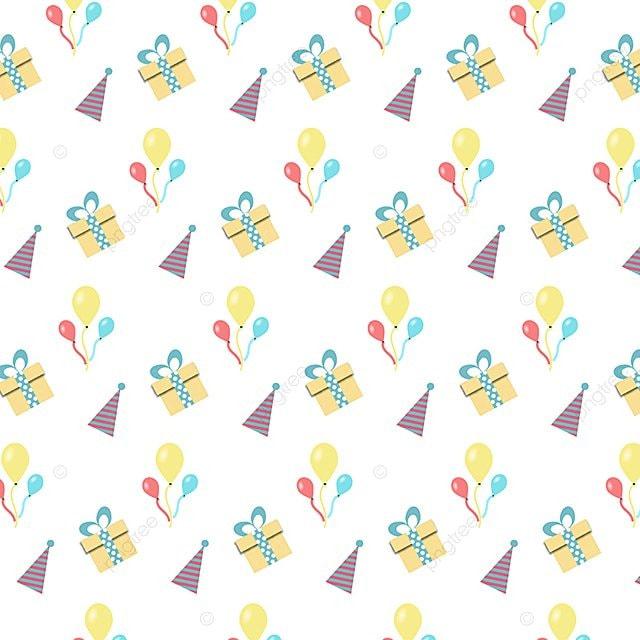 Cute Birthday Pattern Gift Cartoon Background Vector Graphic
