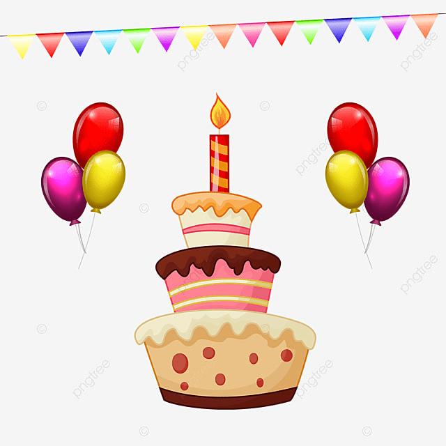 Buon Compleanno Con La Torta Di Compleanno E Palloncini Buon