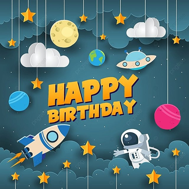 Paper Art Style Space Theme Happy Birthday Card Illustration