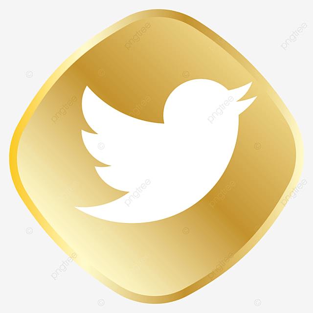 Golden Twitter Icon, Twitter Logo, Twitter Vector, Twitter