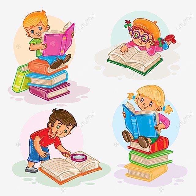 مجموعة من الأطفال الصغار قراءة كتاب طفل قراءة كتاب Png والمتجهات للتحميل مجانا