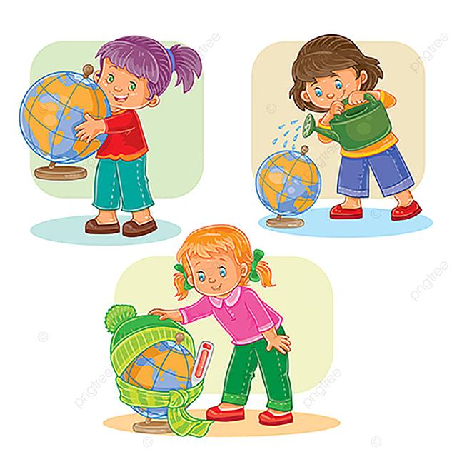 Set De Iconos Pequenos Ninas Jugando Con Un Globo Bebe Poco Juego