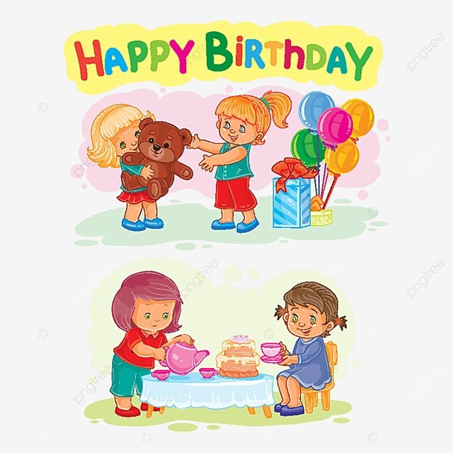 Template For Happy Birthday Greeting Card Kids Gift Kid PNG And Vector