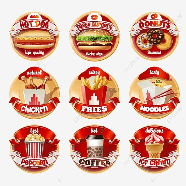 Vector Set Of Fast Food Logos Stickers Red Dogs Food Logo Fast