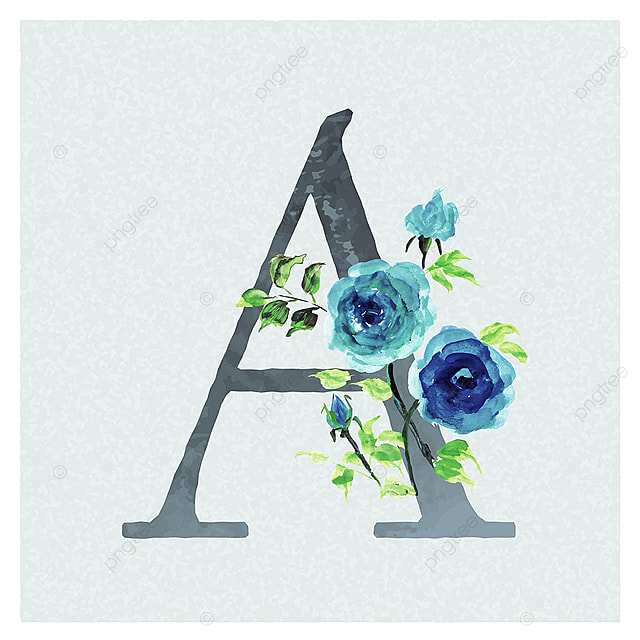 letter a watercolor floral background in blue theme