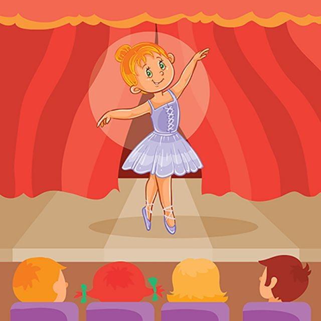 Nina Bailarina Dando Una Presentacion Vector Dibujos Animados