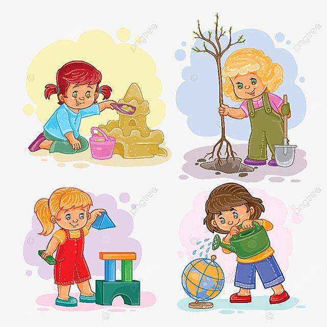 Set De Iconos Pequenos Ninas Jugando Con Los Juguetes Bebe Poco