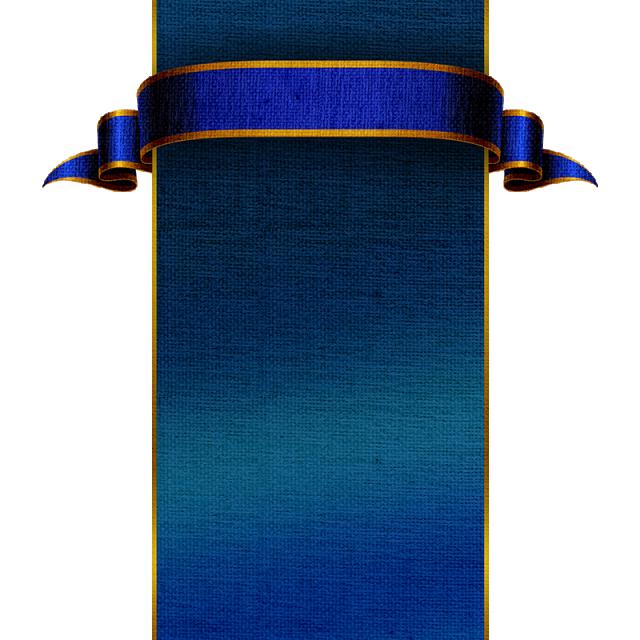 Medieval Blue Banner, Blue Banner, Golden Decoration, Graphic Design Element PNG And PSD File