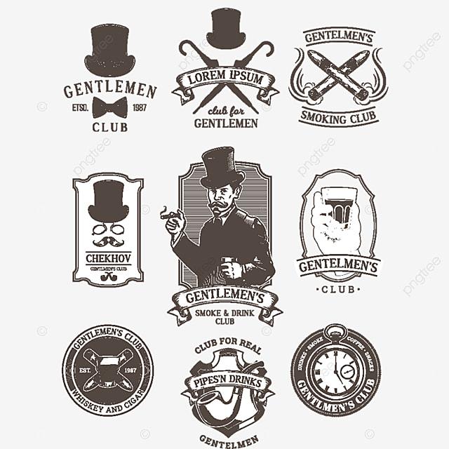Set Of Vintage Gentleman Emblems Labels Gentleman Club