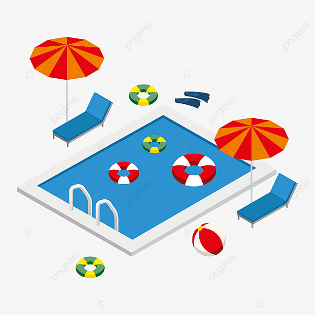 Isometric swimming pool with summer elements isometric for 3d pool design online free
