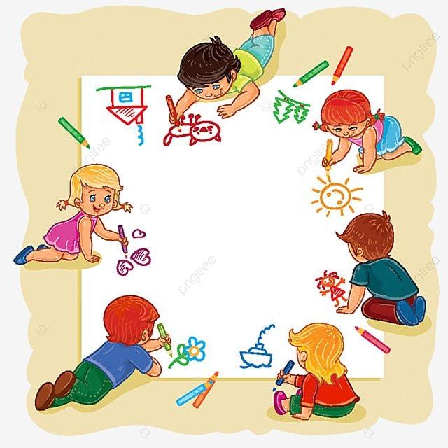 Niños Felices Juntos Dibujar En Una Hoja Grande De Papel, Bebe ...