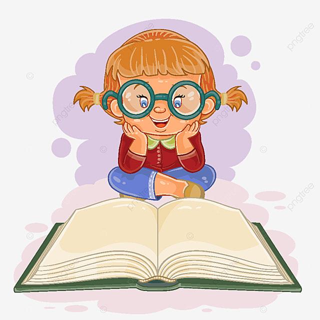 La Petite Fille A Lire Un Livre Lecture Livre Enfants Png