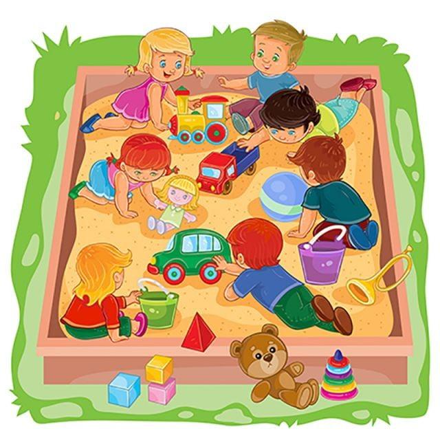Niños Y Niñas Sentados En El Arenero Jugar Sus Juguetes Vector