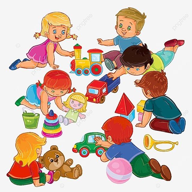 Niños Y Niñas Sentados En El Piso Jugando Con Los Juguetes Vector