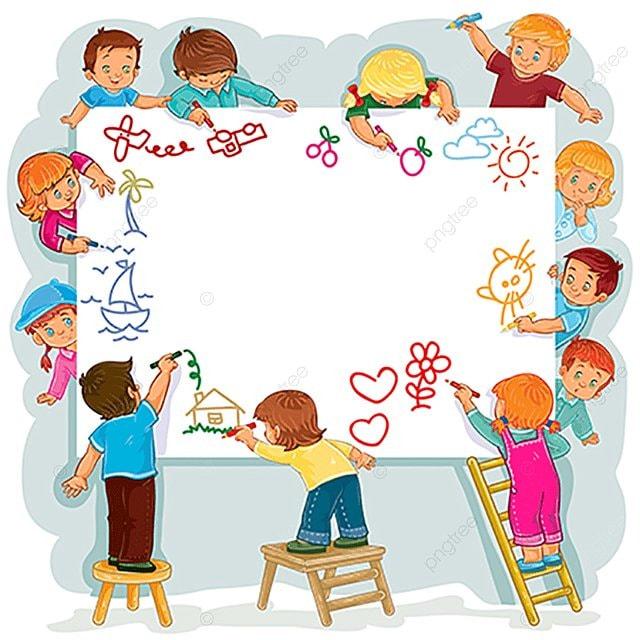 Niños Felices Juntos Dibujar En Una Hoja Grande De Papel Bebe ...