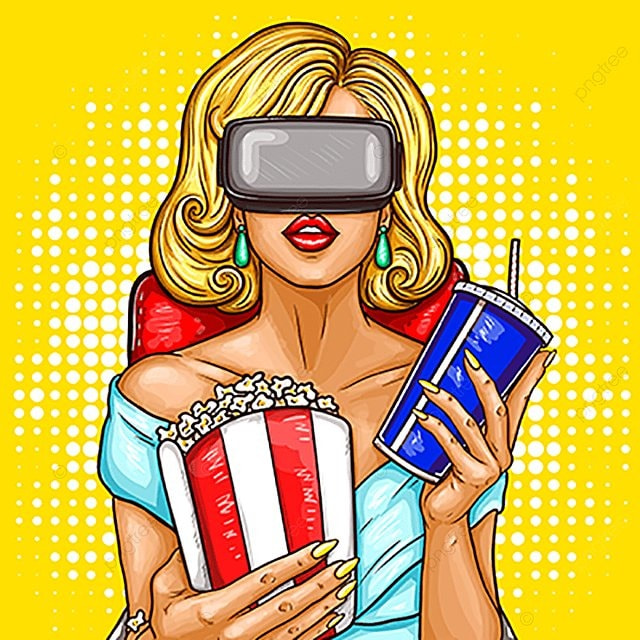 4ff8cb200d Vector Pop Art Woman Watching Movie With Virtual Reality Glasses ...