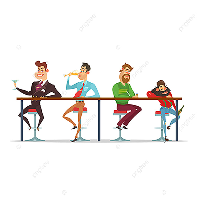 Vector Cartoon Men Sitting At The Bar Table At Various Stages Of