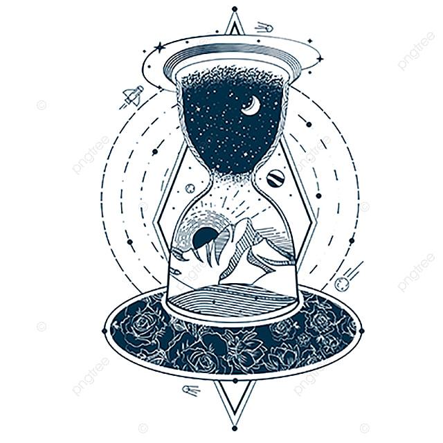 Vector Tatuaje Con Un Reloj De Arena Con El Cielo Y La Tierra Cielo