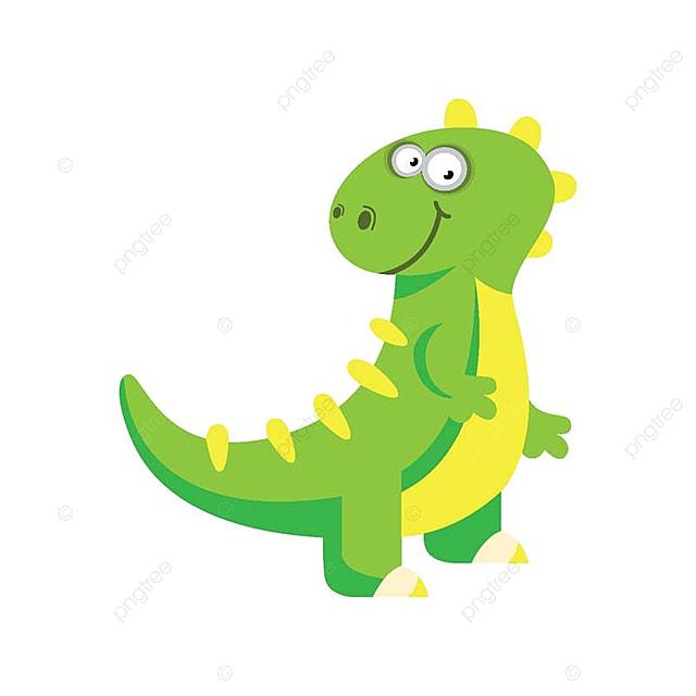 Dinosaure rigolo mignon dessin anim dinosaure vert illustration - Dinosaure rigolo ...