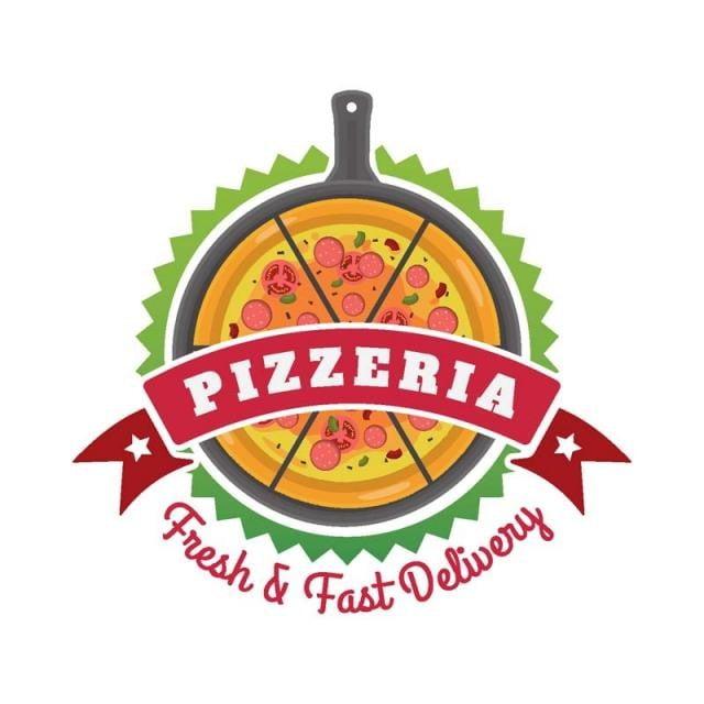 新鮮なホットおいしいピザの配達のバッジのイラスト ピザ 料理