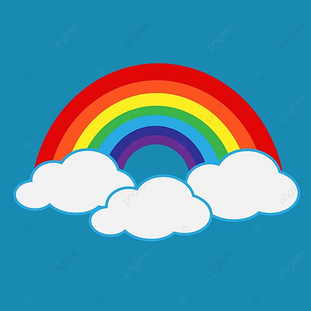 クラウドのアイコンと虹 レインボー ベクトル イラストの無料