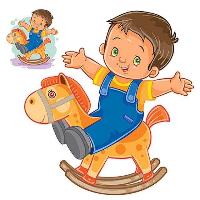 cheval  u00e0 bascule petit gar u00e7on en bois vector dessin anim u00e9