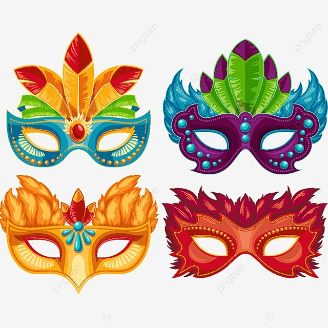 Collection Of Cartoon Carnival Masks Decorated With
