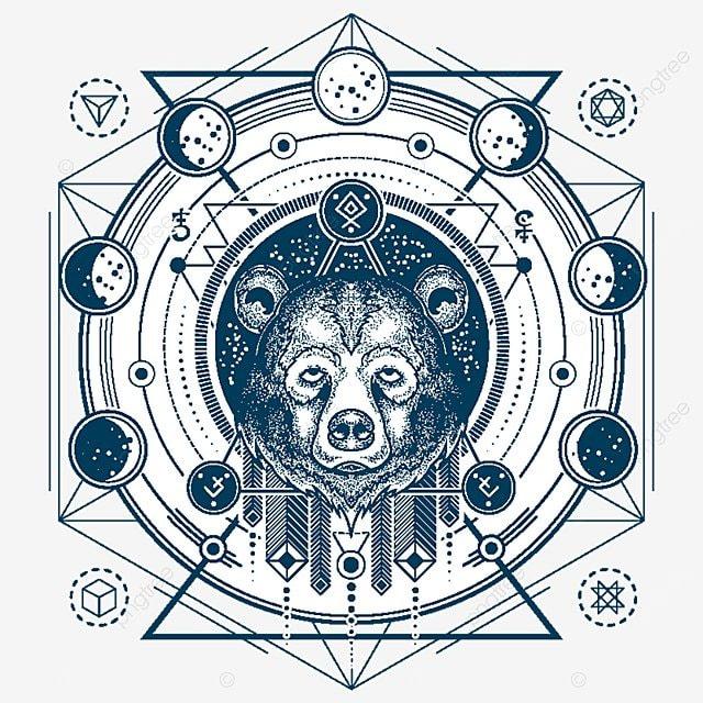 Illustration D Un Tatouage De Geometrique Vecteur Devant Un Ours S