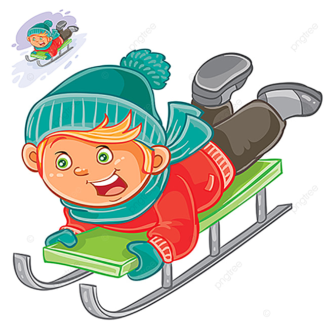 petit enfant glisse sur un tra u00eeneau en hiver la neige