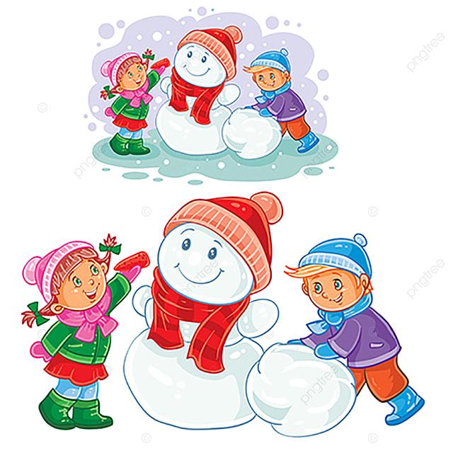 Ilustración De Los Niños Pequeños A Hacer Muñecos De Nieve De ...