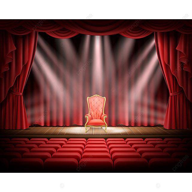 Théâtre Avec Le Rideau Rouge Et Rouge Vintage Président La Scène ...