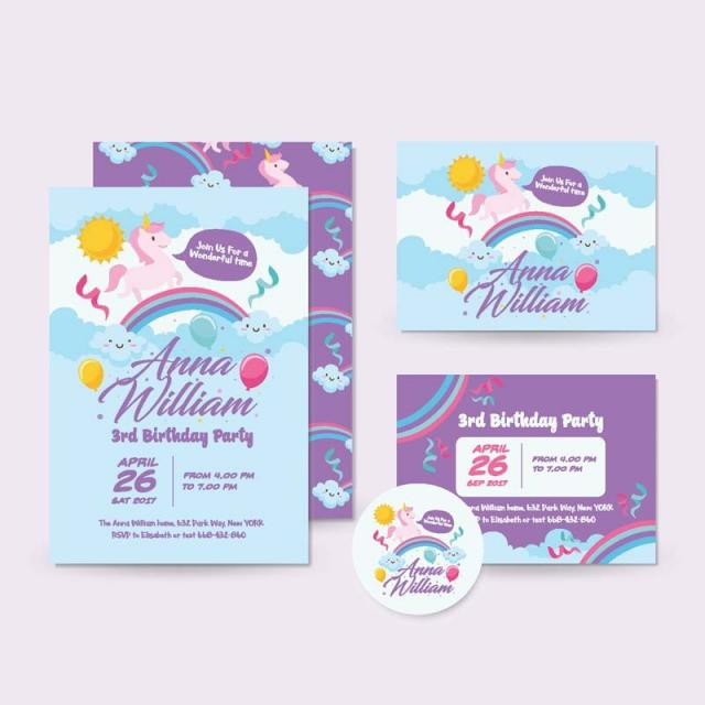 Cute Unicorn Theme Happy Birthday Invitation Card Party PNG And Vector