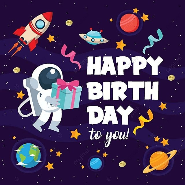 Modern Children Space Theme Birthday Party Happy Birthday Card