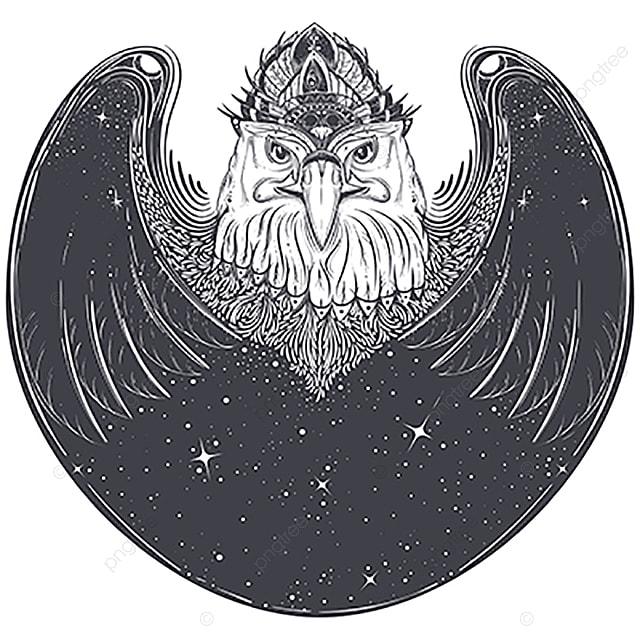 Sea Eagle Head With Pagan Runic Symbols Vector Eagle Feathers