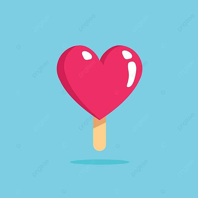 Modern Cute Romantic Ice Cream Heart Symbol Concept Heart Love