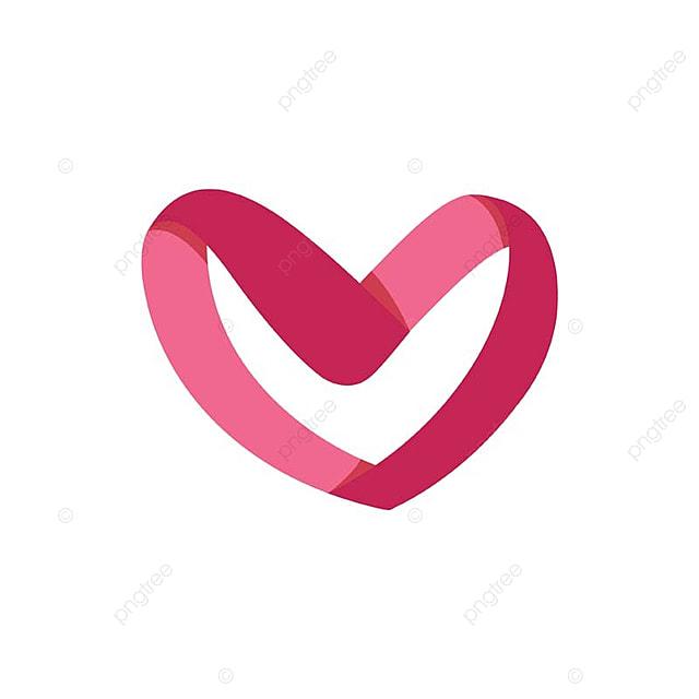 Modern Cute Romantic Ribbon Heart Symbol Concept Heart Love Amour