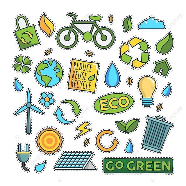Vintage 80s 90s Green Energy Fashion Cartoon Illustration Set Patch